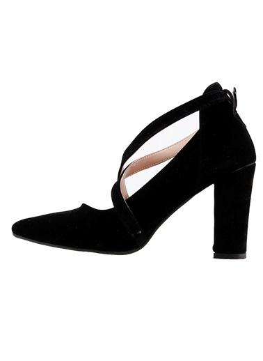 Ayakland Ayakland 137029-1122 Süet 9 Cm Topuk Bayan Sandalet Ayakkabı Siyah